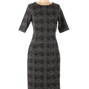 EUC Land's End Black Plaid Ponte Dress- POCKETS!